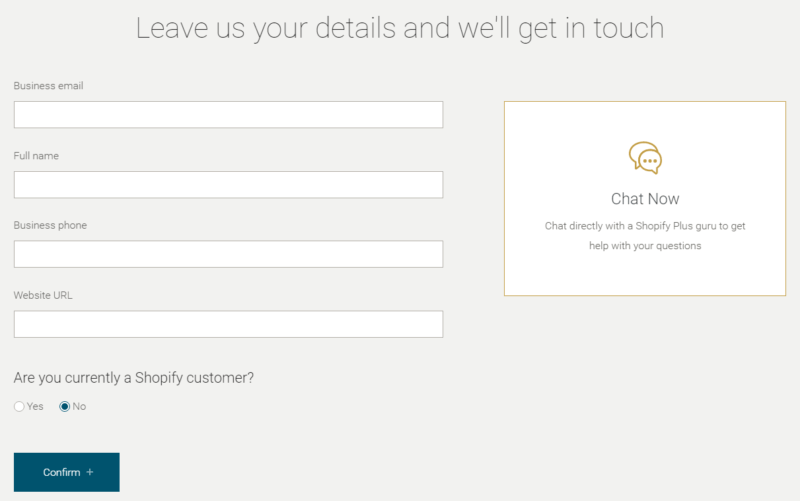 Shopify Plus Getting Started Form