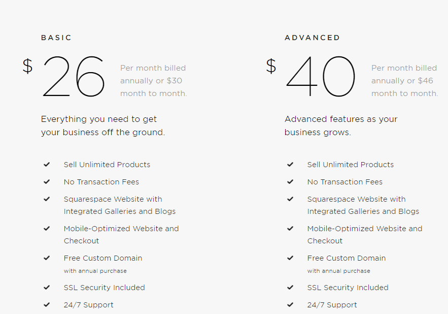 shopify vs squarespace for ecommerce pricing